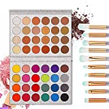 TOPBeauty Eye Shadow Make Up Set 48 Colors Professional Cosmetic Matte & Shimmer Waterproof Eyeshadow + 10 pcs Makeup Brushes Diamond Handle Eyebrow Eyeliner Eyeshadow Brush Beauty Eye Make Up Kit