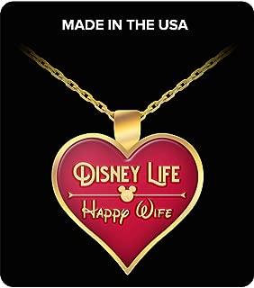Disney Life Happy Wife Heart Necklace Gift for Women Girlfriend Disneyland Crown Princess Anniversary Jewelry