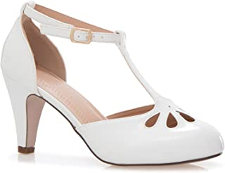 Olivia K Women's Low Heels Mary Jane Pumps - Adorable Vintage Shoes- Unique Round Toe Design with an Adjustable T Strap