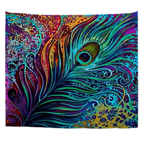 A.Monamour Tapisseries Décoratives Peint Coloré Plume De Paon Tribal Mandala Boho Hippie Impression Tissu Tapisserie Murales Mur Arts Décors Rideaux pour Accessoires pour La Maison 180x230 cm