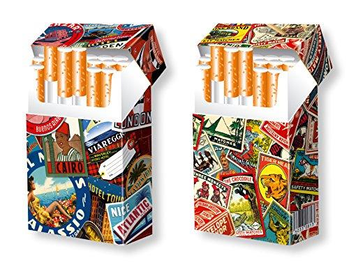 slipp overall - 2er Set - originelle Designs: Alte Kofferaufkleber + Matches - Zigarettenschachtel-Etui/Zigarettenschachtel-Überzieher mit Deckel aus Karton/passend für die meisten L-Schachteln