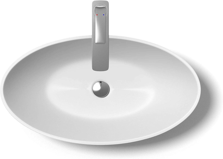 Sogood Aufsatzwaschbecken Colossum807 BTH  62,5x34,5x17,5 cm Waschbecken aus Gussmarmor in matt wei Waschschale