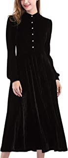 Ayliss Women Velvet Maxi Dress Peter Pan Collar Long Sleeve Swing Dress