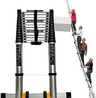 YYDZ Escala Escamotable- Escalera de extensión de Loft portátil con Ruedas, escaleras telescópicas de Alta 5M Pruebas for techos de Escalera (Tamaño: 5M / 16,4 pies) XX (Color : Black) :