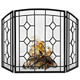 Best Choice Products 3-Panel 48x30in Glass Diamond Accent Handcrafted Iron Mesh Fireplace Screen, Fire Spark Guard Protector Gate for Indoor & Outdoor w/Folding Panels