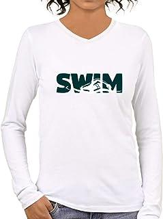 Pooplu Mens Swim Cotton Printed V Neck Full Sleeves Multicolour Tshirt. Sports, Diving, Swimming, Symbol Tshirts