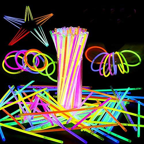 ASANMU Barras Luminosas, Pulseras Fluorescentes Tubos Luminosos Pulseras Luminosas con Variedad de Conectores Pulseras Luminosas para Carnaval Festividad Fiestas San Valentín, Bodas, cumpleaños-100pcs