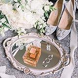 LZYMSZ Bandeja decorativa de espejo, bandeja de exhibición ovalada vintage para...