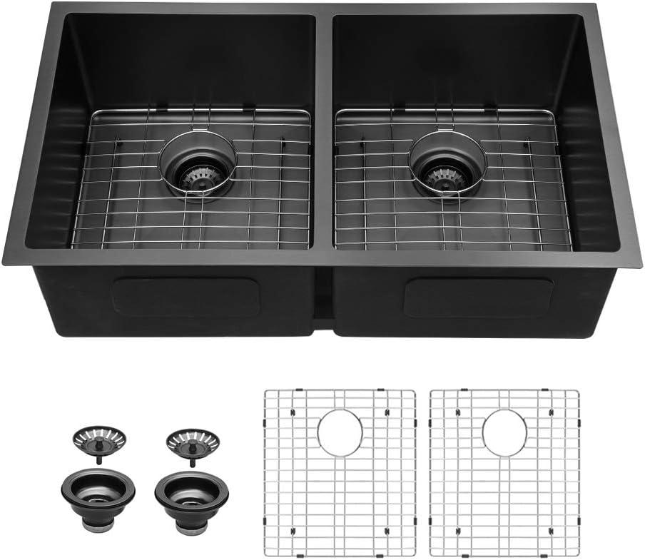 Black Kitchen Sink Double Bowl Sarlai 33 Inch Undermount Sink Gunmetal Matte Black Double Basin 50 50 16 Gauge Stainless Steel Undermount Kitchen Sink Basin Amazon Com