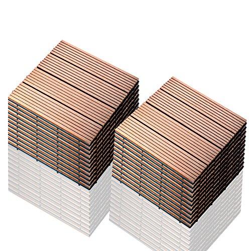 SIENOC 22 Stück/ca. 2 m² Terrassen-Fliese aus WPC Kunststoff, 22er Spar Set für 2 m², Garten-Fliese, Balkon Bodenbelag mit Drainage Unterkonstruktion 30x30cm (22x Hellbraun 300 * 300 * 22mm)