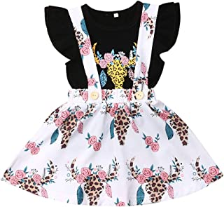 Infant Baby Girl Ruffle Short Sleeve T-Shirt Top Floral Suspender Skirt Summer Kids Outfit