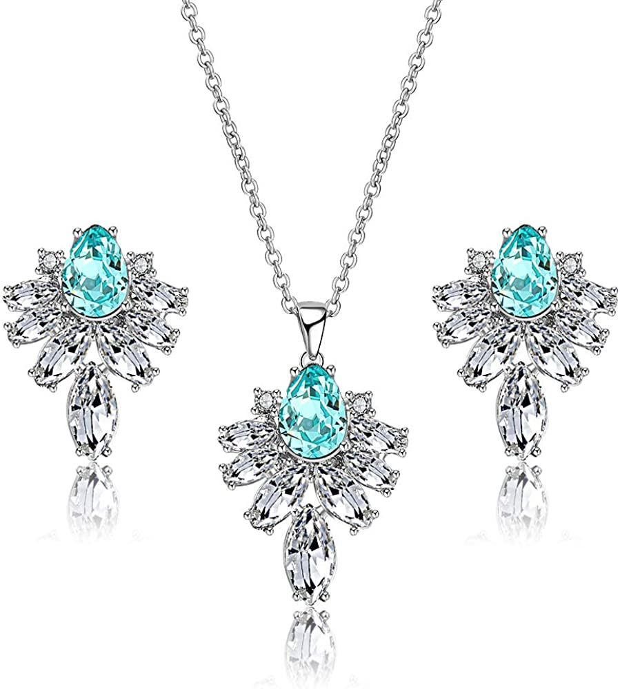 Aprilery Luxury Crystal Jewelry Sets for Wome Bridal Necklace and Earrings Sets