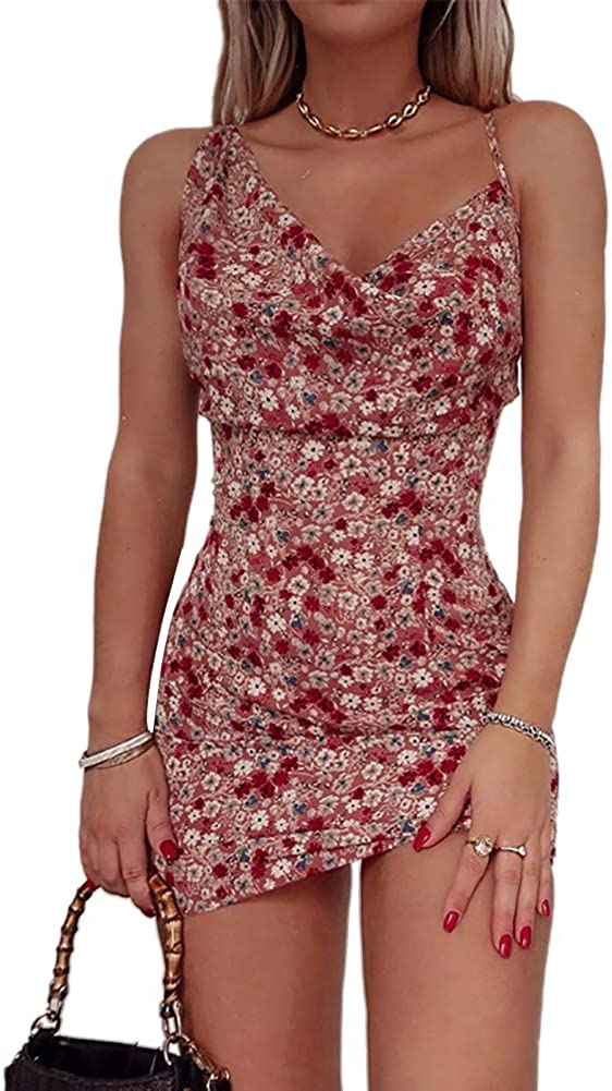 Tempura Women's Sexy Mini Dress Slim V Neck Sleeveless Hip Dress Backless Wrap Flare Dresses Bodycon Clubwear