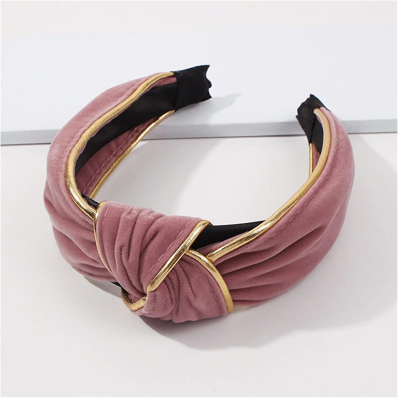 JIAQ Fashion Women's Hairband Headband Solid Headwear Classic Girls Hair Accessories DIY Turban Hair Band Hair Hoop (Color : Pink)
