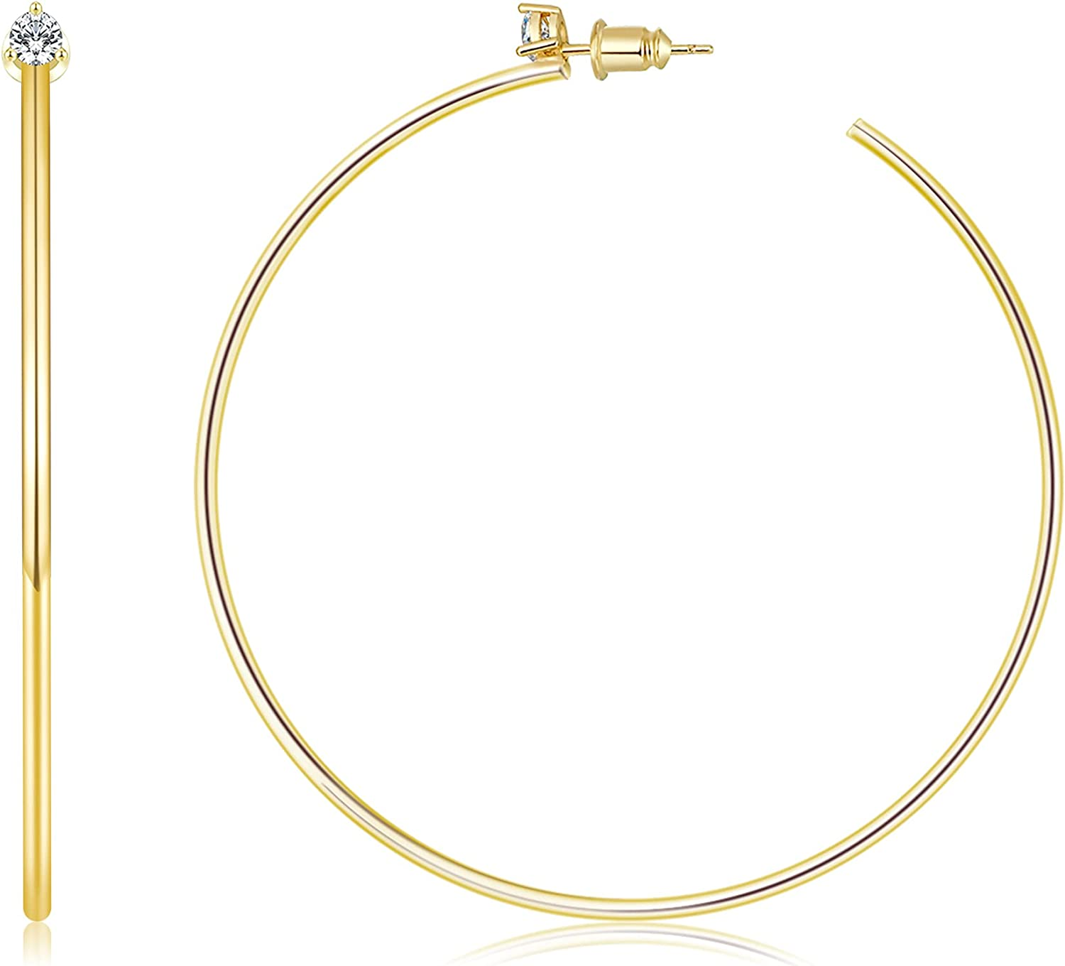Besalon Gold Hoop Earrings for Women 14K Thin Gold Plated Hoops Earring Hoops for Girls Lightweight with Cubic Zirconia
