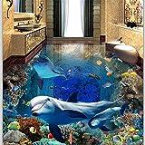 Custom Flooring 3D Underwater World Dolphin Madre e hijo Love 3D Sala de estar Centro comercial Shopping Hotel 3D Pisos de baldosas, 430 * 300 cm