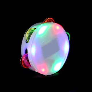 Fun Central LED Light Up Round Tambourine - Musical Instrument Toy for Kids & Toddlers