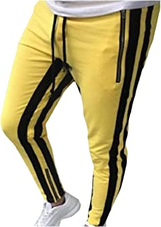 RkBaoye Men Chic Soft Patched Standard-fit Zipper Hip Hop Tracksuit Bottoms