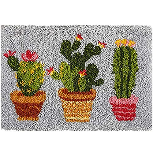 Knüpfteppich Tapisserie Knüpfen Set Kaktus Muster Teppich Zum Selber Knüpfen Kreuzstich Set Für Kinder Und Erwachsene Anfänger Knüpf-Sets Latch Hook Kit 52Cmx38cm