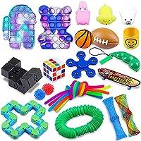 そわそわおもちゃセット、子供大人のための感覚プッシュポップバブルそわそわおもちゃパック、自閉症ADHD、ランダムカラーのための安い緩和ストレスと不安特別なおもちゃ (b, 25個)