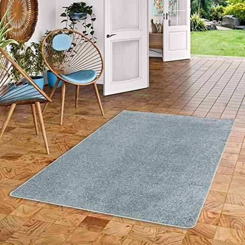 Snapstyle Hochflor Velours Teppich Mona Eisblau in 24 Größen