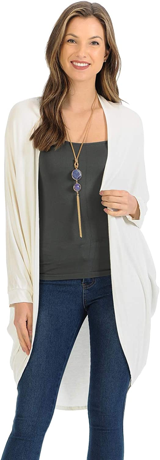 iconic luxe Women's Jersey Batwing Sleeve Cardigan