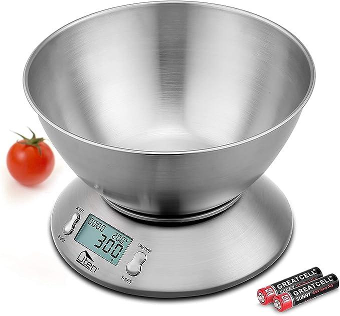 899 opinioni per Uten- Bilancia digitale da cucina con ciotola in acciaio inox staccabile, 5 kg,
