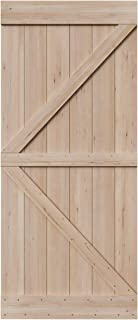 SmartStandard 36in x 84in Sliding Barn Wood Door Pre-Drilled Ready to Assemble, DIY Unfinished Solid Hemlock Wood Panelled Slab, Interior Single Door, Natural, Frameless K-Shape (Fit 6FT-6.6FT Rail)