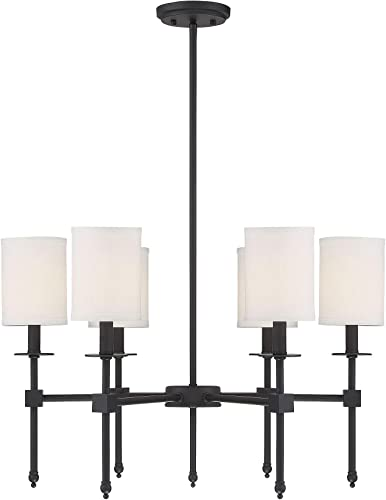 """2021 Savoy House discount 1-305-6-89 Chatham Updated Classical 6-Light Chandelier with White Fabric Shades in Matte Black (28"""" W online sale x 18""""H) sale"""