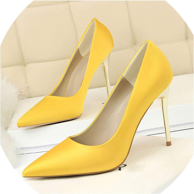 YP-fashion 2019 Plus Size 43 Women 10cm High Heels Lady Sexy Glitter Satin Pumps Female Stiletto