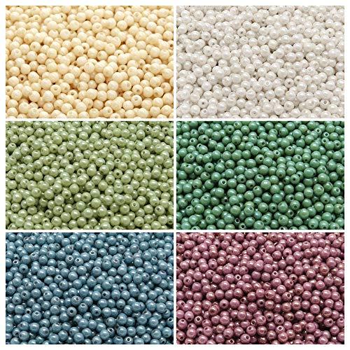 600 pcs 6 couleurs, Pressées perles en verre tchèques, rond 3mm, Set RP 328 (3RP001 3RP091 3RP092 3RP093 3RP094 3RP095)