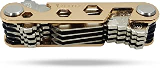 Compact Key Organizer by KEYTEC (12-16 keys) - Premium Key Holder with Built-In Tools - Bottle Opener/Phone Stand - Gold Frame plus Anti Loosening Washer - Great Gift (Gold)