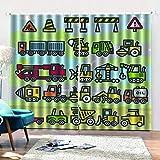 shkdif Cortinas Opacas 3D Coche De Dibujos Animados,3D Cortinas Opacas Modernas Sombreado Ventana Cortinas De Impresión para Salón Dormitorio170Wx200H Cm