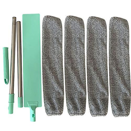 Fnsky - Spolverino per la pulizia, spazzola per la polvere da camera da letto, con manico lungo e flessibile, Verde, 125cm-With 4 PCS Cloth