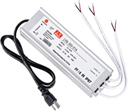 LED driver 300 watts (100W X3) 25A, waterproof IP67 power transformer, AC to 12V DC low voltage output, with American 3-pin plug 3.3 ft LED cable for LED landscape lighting, computer projects, outdoor