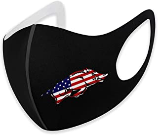 Reusable Fashion Arkansas Razorbacks Face Mask,Fashionable Washable Unisex Face Shield, Breathable Mouth Masks for Cycling Camping Travel for Adult Men Women Black