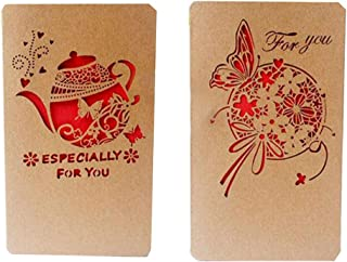 2PCS Kraft Paper Beautifully Christmas Card Holiday Greetings Cards Blessing Festival Cards DIY Mother's Day Wish Cards