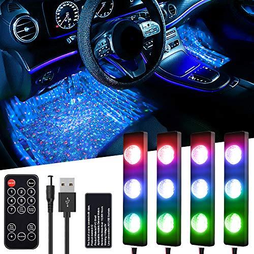 LETOUR - Tira de luces LED para interior de coche, 5 V, RGB, con mando a distancia inalámbrico y puerto USB, resistente al agua, 7 colores, sensor de música, iluminación ambiental