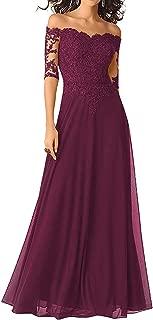 Long Mother of The Bride Dresses Off Shoulder Evening Formal Dress Half Sleeve Beaded Lace Appliques