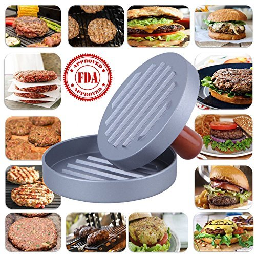 DS Hamburger Press Non-Stick Heavy Duty Veggie Aluminum Burger Patty Maker, BBQ Grill Hamburger Mold Press with Wood Handle for Halloween,Party