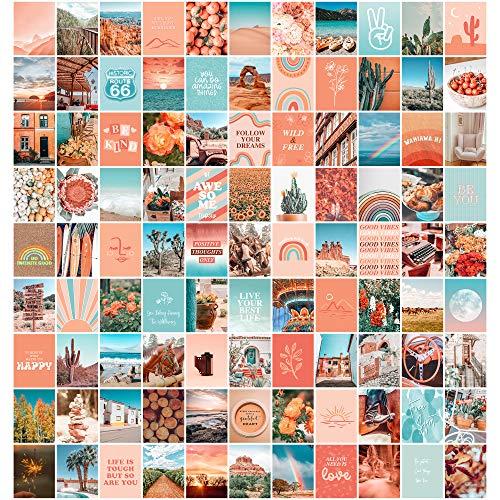 ARTIVO Peach Aesthetic Wall Collage Kit, 100 Set 20,3 x 25,4 cm, Raumdekoration für Teenager-Mädchen, Peachy Teal Wall Art Print, Dorm Photo Collection, Boho Poster für Zimmer Ästhetik