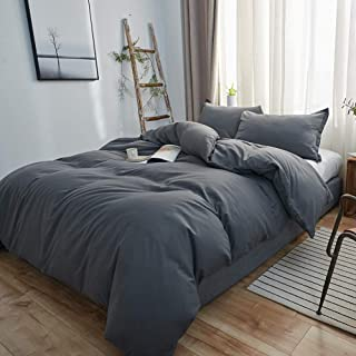 SORMAG Bedding Duvet Cover King Size 3 Piece, Ultra Soft Double Brushed Microfiber Hotel Collection, Duvet Cover with Zipper Closure, Gray