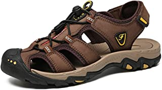 Fashion Outdoor Sandals for Men Breathable Beach Shoes Closed Toe Walking Hiking Fisherman Slipper with Elastic Lock Shoelaces Genuine Leather Anti-Slip Men's Boots (Color : Darkbrown, Size : 9 UK)