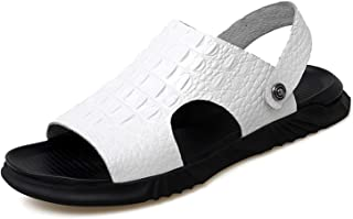 GHC Leisure Slippers & Sandals, Men's Summer Outdoor Beach Casual Sandal, Crocodile Embossed Lightweight Slipper Vegan Lea...