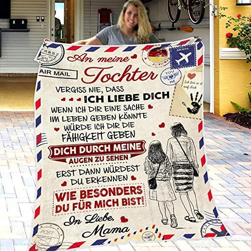 kuscheldecke Flanell Decke An Meine Tochter Super Weiche Teppich, Personalisierte Luftpost Briefdecke, Mikrofaser Flauschige Weich Sofa Nachricht Quilts, Birthday Gift, Christmas, Wedding 150 * 200
