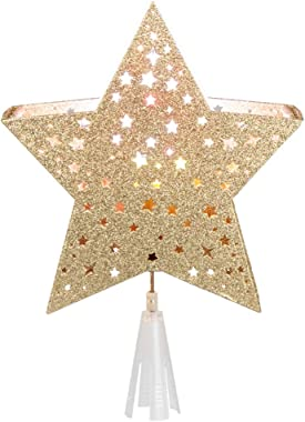 """EAMBRITE 9"""" Hollow Gold Star Christmas Tree Topper with Rotating Magic Ripple Projector for Crown Xmas Tree Topper Decora"""