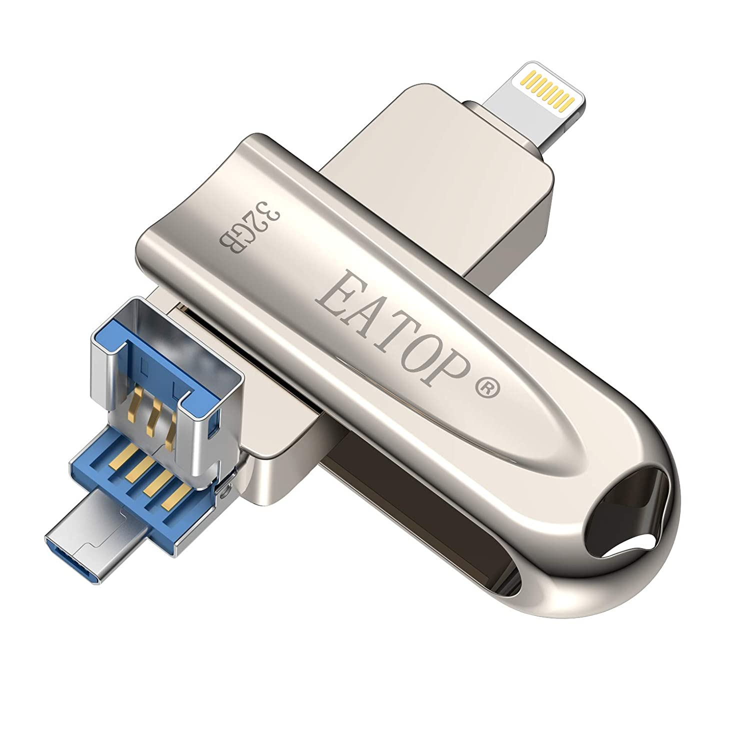 EATOP USB 3.0 Flash Drive 32GB iPhone Flash Drive for iPhone X XR XS MAX, Photo Stick for iPhone 6, iPhone 6 Plus, iPhone 8 Plus & iPad, iPhone Thumb Drive for iOS Android and Computer (Silver)