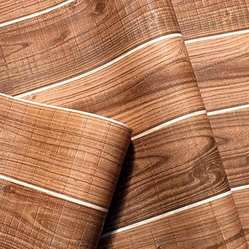LSWSSD Carta da parati in vinile impermeabile in PVC per legno Carta da parati in vinile vintage 3D per soggiorno in legno Pannelli in legno marrone per pareti HomeCovering Home Decor 5.3㎡ Cioccolato
