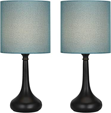 Table Lamps Set of 2 Bedside Lamp Nightstand Desk Modern Lamps 2 Pack with Black Metal Base and Blue Fabric Shade for Bedroom Living Room Office and Dorm