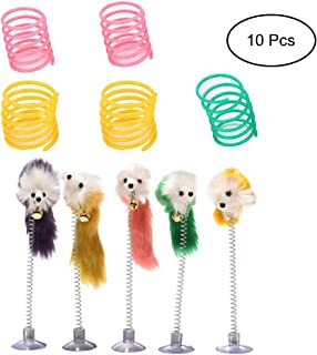 HOMG111 Pet Wide Plastic Colorful Springs Cat Toys with Retractable Cat Toys Spring cat Stick Furry Pet Toys with Sucker for Cat Kitten Pets (Random Color)
